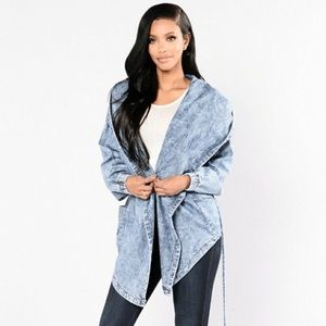 Fashion nova hooded jean jacket